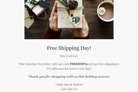 Cats Like Us - Free Shipping Campaign